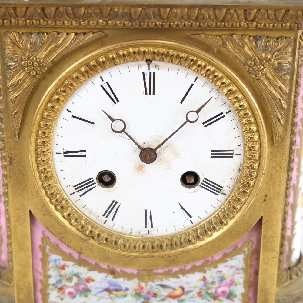 A French gilt-brass and Sevres Rose Pompador porcelain panel 8-day mantel clock, by Charles - Image 2 of 5