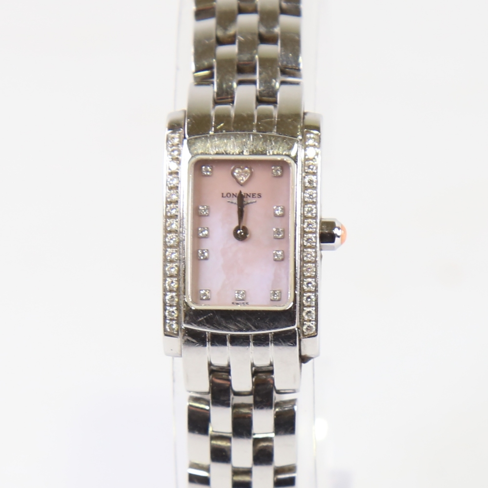LONGINES - a lady's stainless steel Dolce Vita quartz wristwatch, ref. L5.158.0, circa 2015, pink