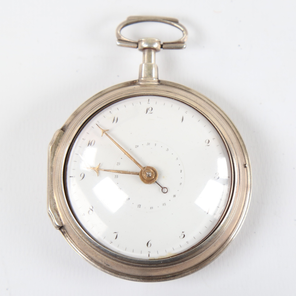 An 18th century silver pair-cased open-face keywind Verge pocket watch, white enamel dial with