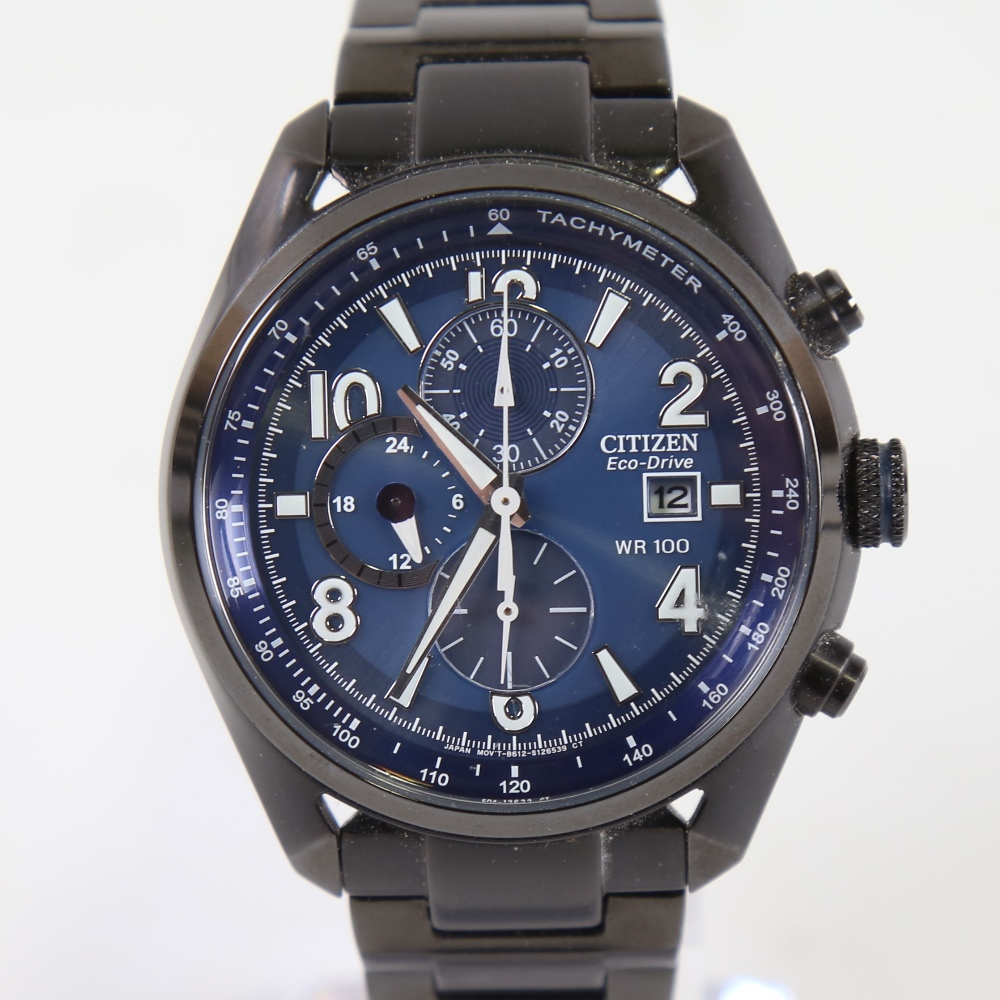 CITIZEN - a black ion-plated stainless steel Eco-drive WR100 quartz chronograph wristwatch, ref.