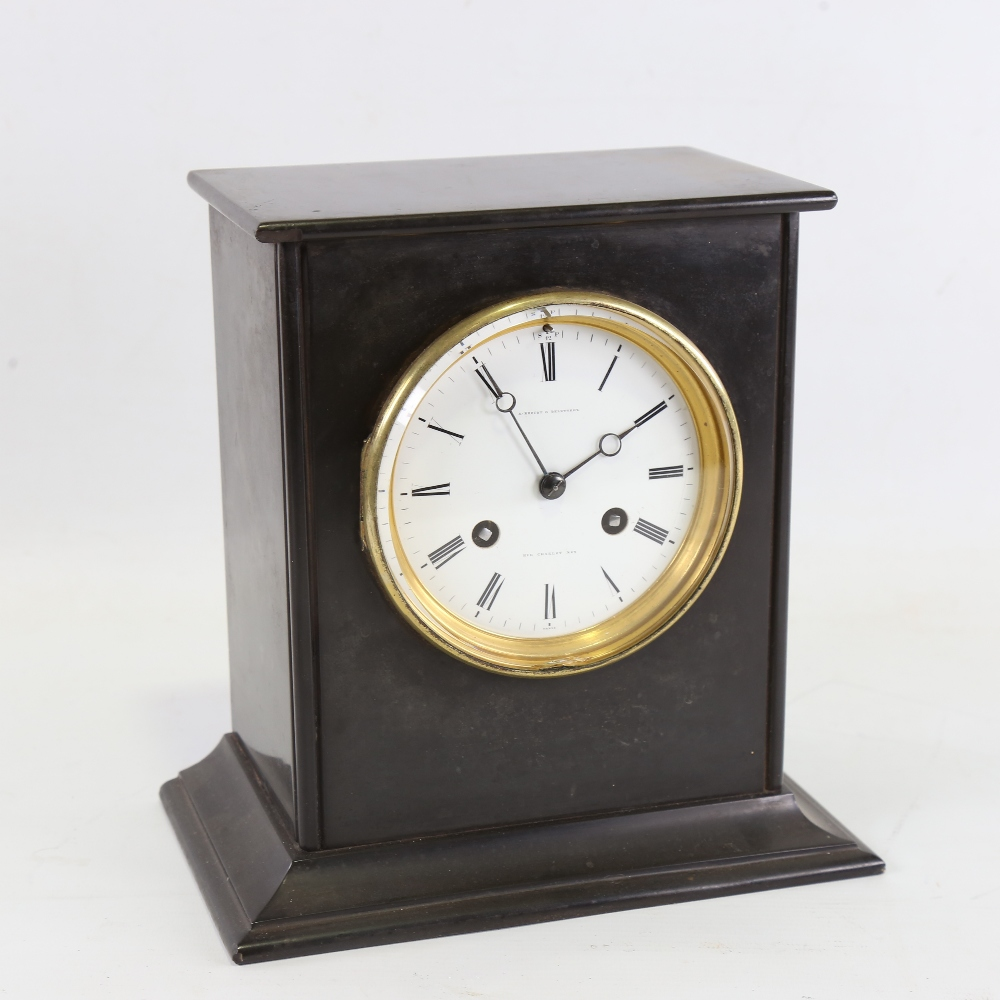 A 19th century French slate-cased 8-day mantel clock, by A Brocot & Delettrez of Rue Charlot N62