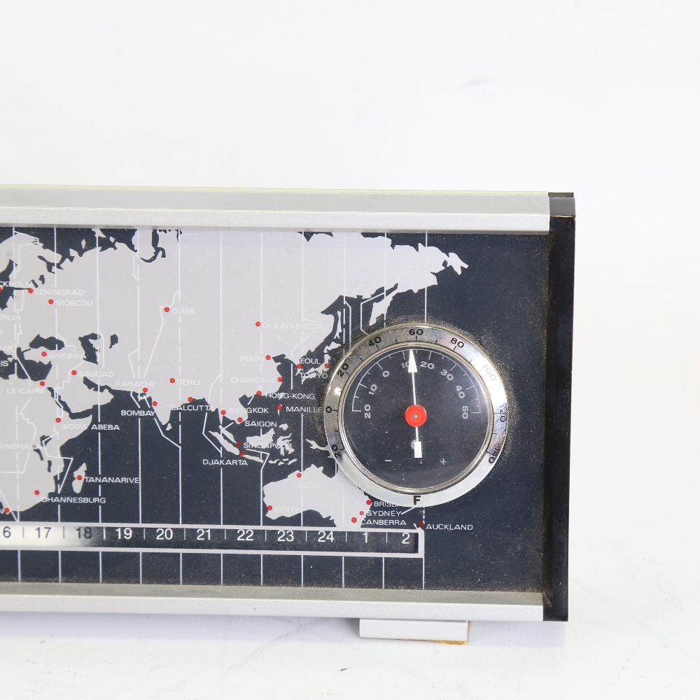 DERBY - a Vintage electronic world timer DC 2969 desk clock, with world timer tape, analogue clock - Image 2 of 5