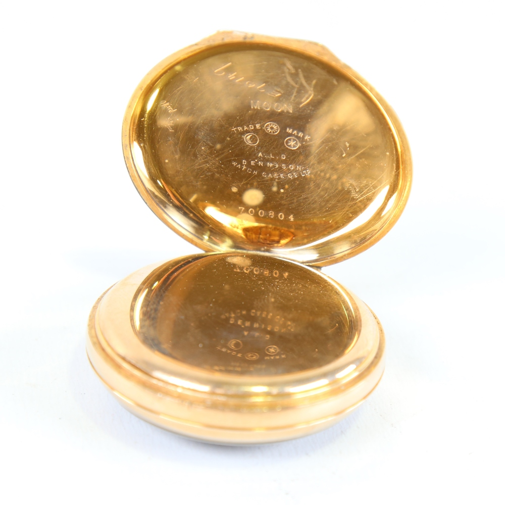 ZENITH - a First World War Period gold plated open-face top-wind alarm pocket watch, black dial with - Image 3 of 5