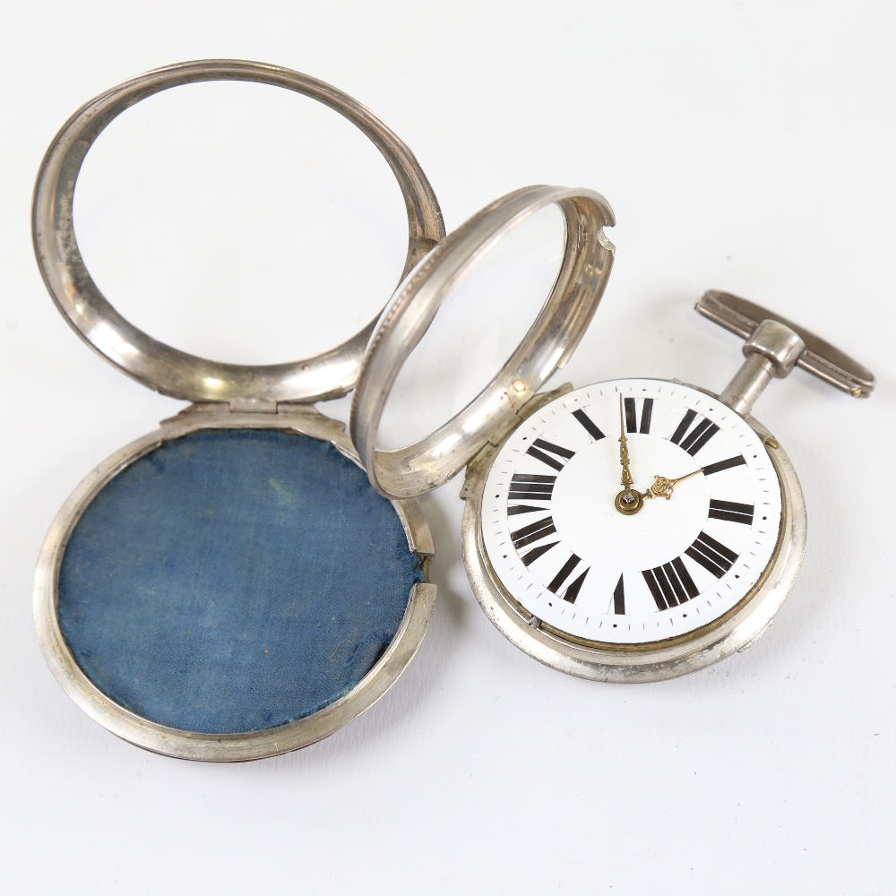 An 18th century German pair-cased open-face keywind Verge pocket watch, white metal case with blonde - Image 3 of 5