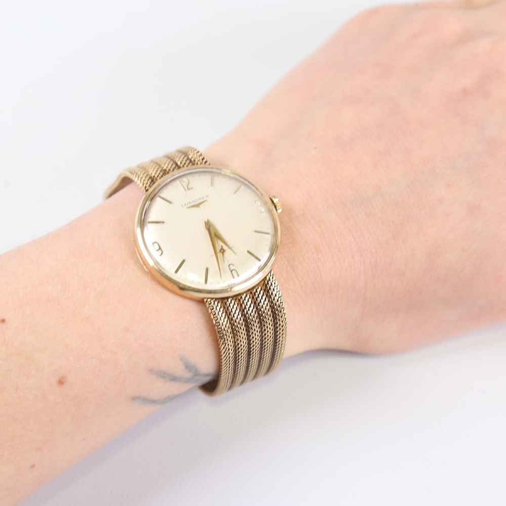 LONGINES - a Vintage 9ct gold mechanical wristwatch, circa 1966, silvered dial with quarterly gilt - Image 5 of 5