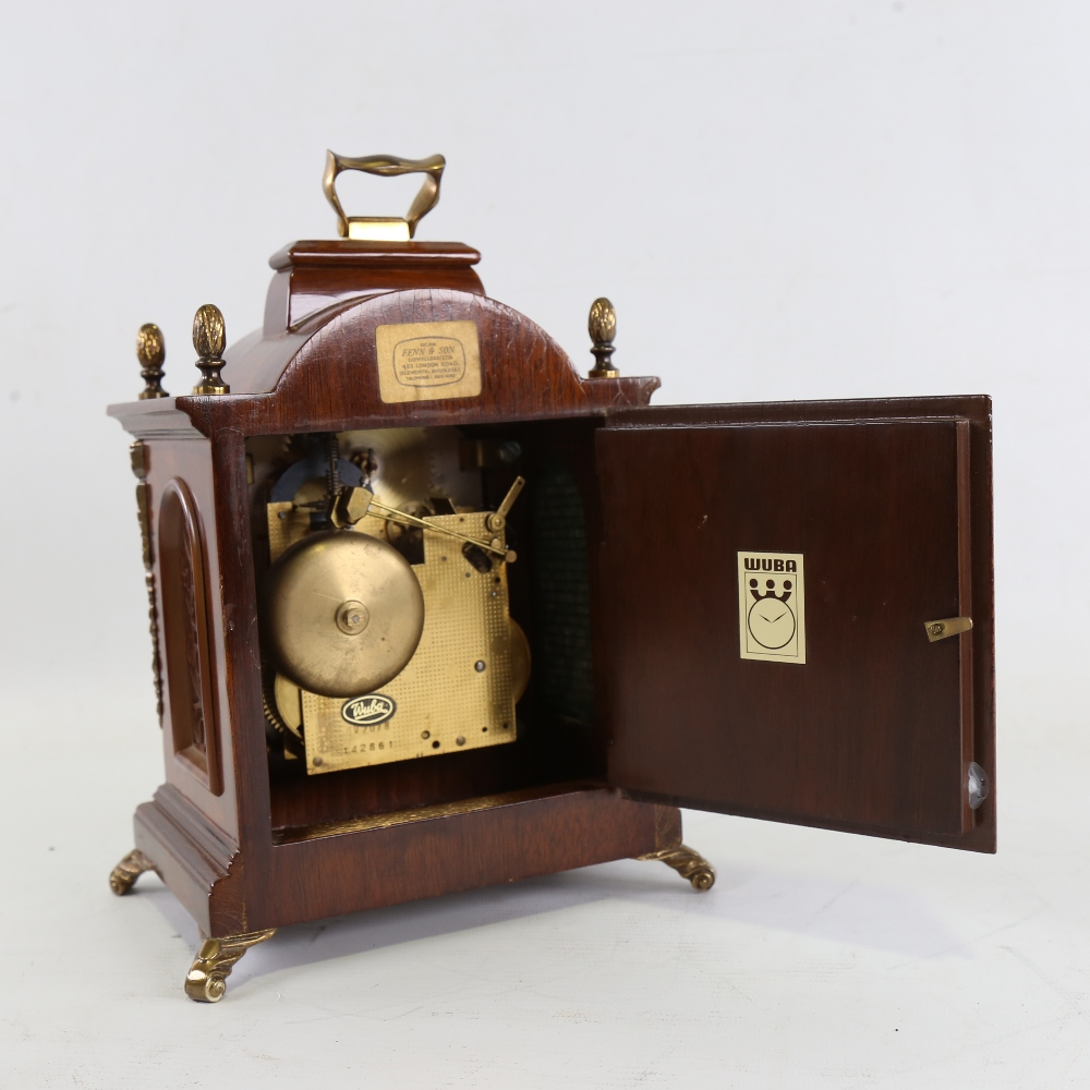 A Georgian style reproduction walnut-cased 8-day dome-top bracket clock, by Warmink Wuba, brass - Image 3 of 5