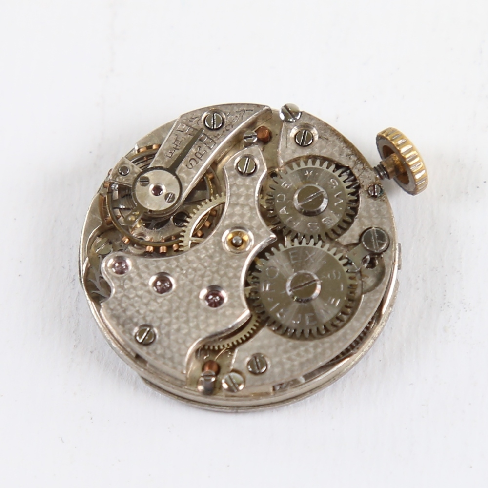 ROLEX - a Vintage wristwatch movement, white enamel dial with hand painted Roman numeral hour - Image 2 of 5