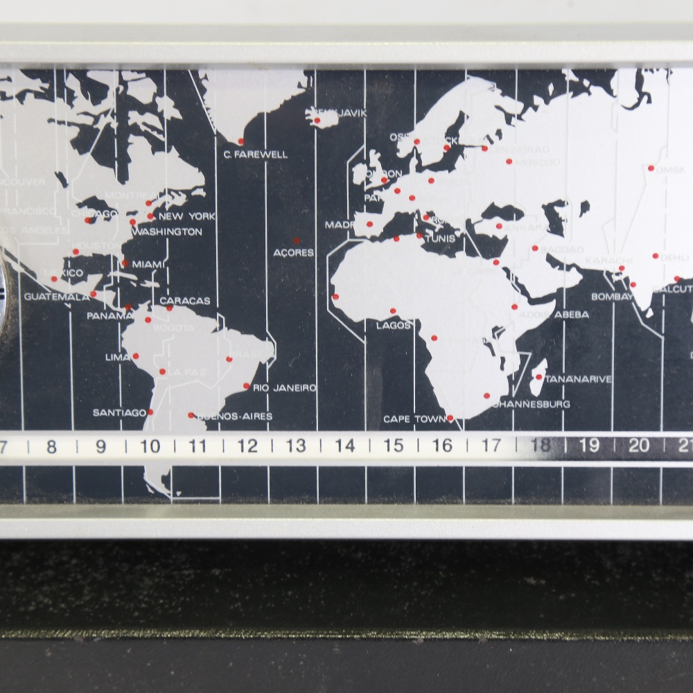 DERBY - a Vintage electronic world timer DC 2969 desk clock, with world timer tape, analogue clock - Image 4 of 5