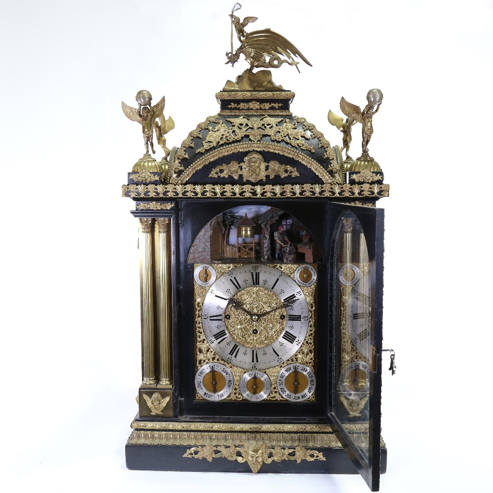 A spectacular 19th century quarter chiming English Exhibition table clock with automata, - Image 3 of 51