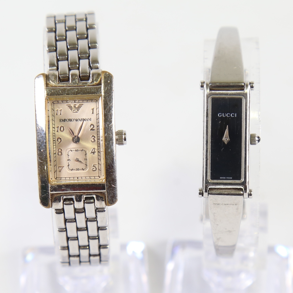 2 modern lady's stainless steel designer quartz wristwatches, comprising Gucci 1500L and Emporio