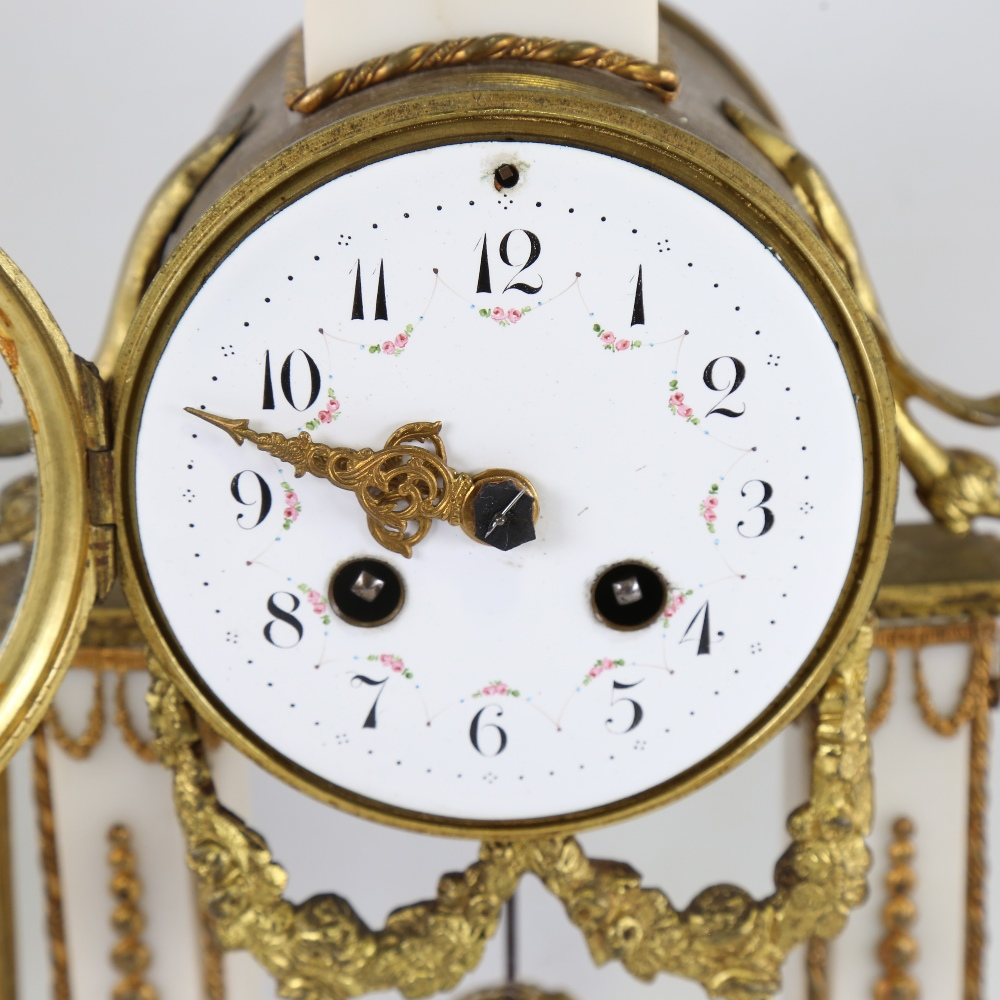 A 19th century French white marble and brass-cased 3-piece 8-day drum mantel clock garniture, floral - Image 2 of 5
