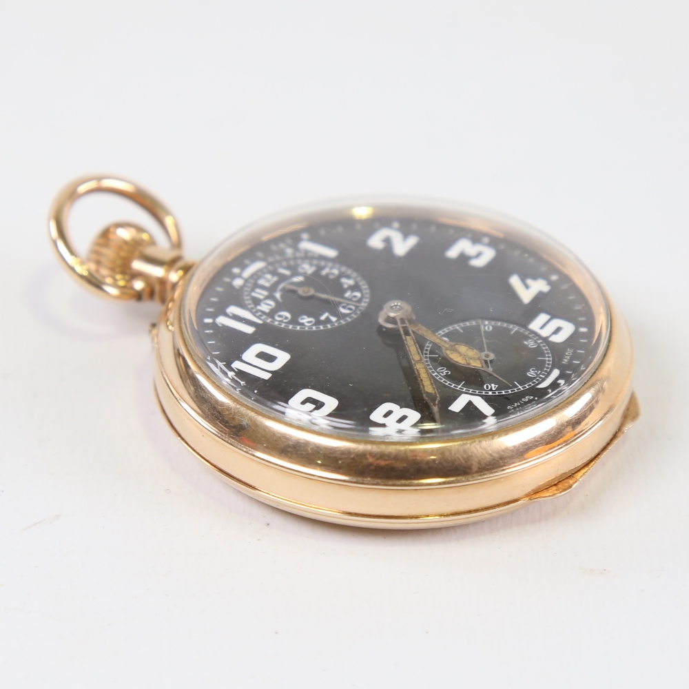 ZENITH - a First World War Period gold plated open-face top-wind alarm pocket watch, black dial with - Image 5 of 5