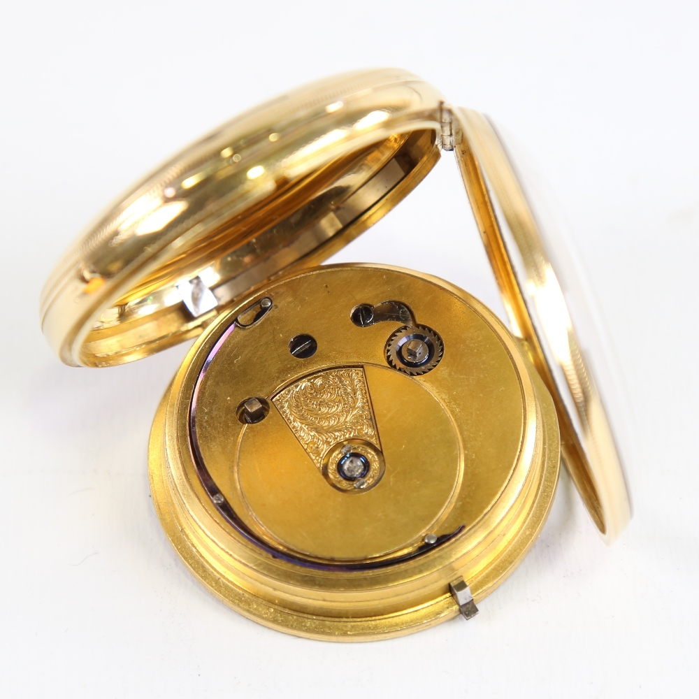 A 19th century 18ct gold cased open-face keywind pocket watch, by Peter Cattaneo of Croydon, - Image 4 of 5
