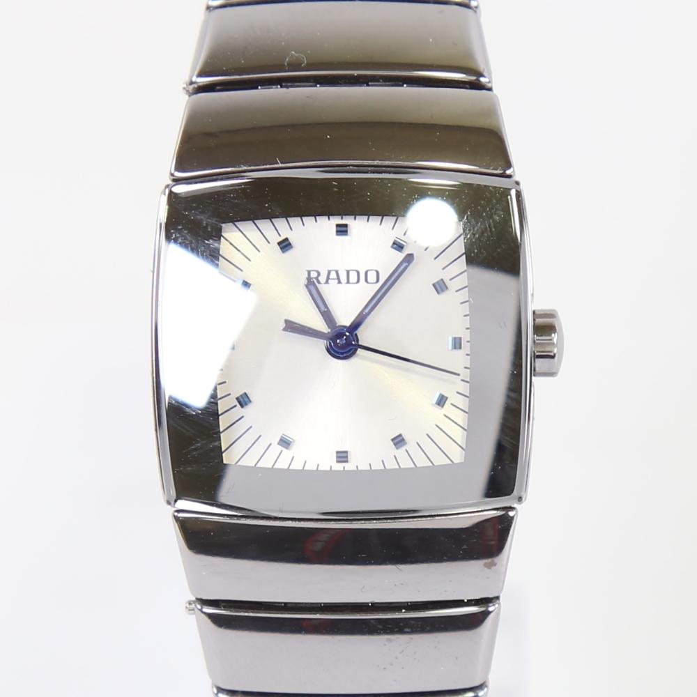 RADO - a lady's ceramic DiaStar quartz wristwatch, ref. 318.0722.3, silvered dial with blued steel