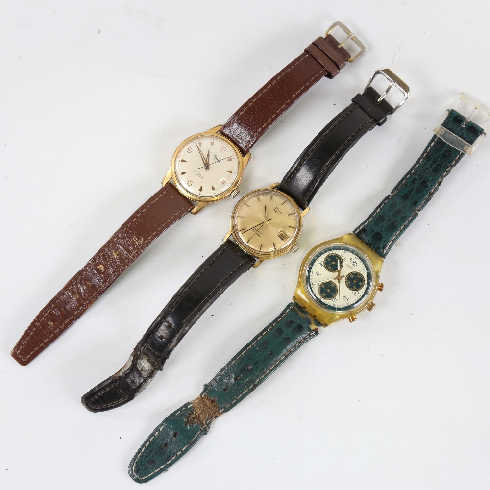 3 Vintage wristwatches, comprising Swatch, Ramona automatic, and Rotary automatic, both automatics - Image 2 of 5