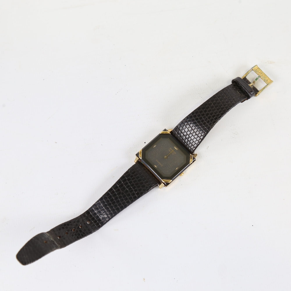 RADO - a gold plated stainless steel Florence quartz wristwatch, ref. 121.3365.2, square black - Image 2 of 5
