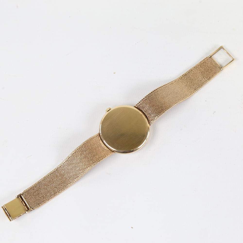 LONGINES - a Vintage 9ct gold mechanical wristwatch, circa 1966, silvered dial with quarterly gilt - Image 3 of 5