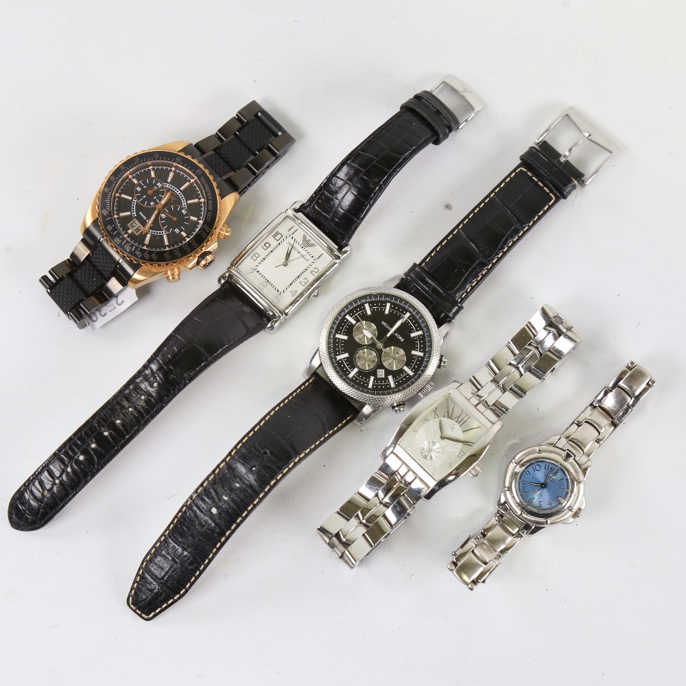 5 modern designer quartz wristwatches, including GC, Michael Kors, Guess and Emporio Armani, only - Image 2 of 5