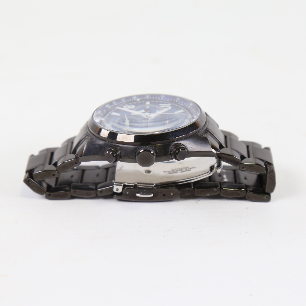 CITIZEN - a black ion-plated stainless steel Eco-drive WR100 quartz chronograph wristwatch, ref. - Image 4 of 5