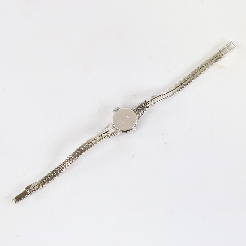 A lady's Vintage 18ct white gold diamond and sapphire mechanical cocktail wristwatch, brushed - Image 3 of 5