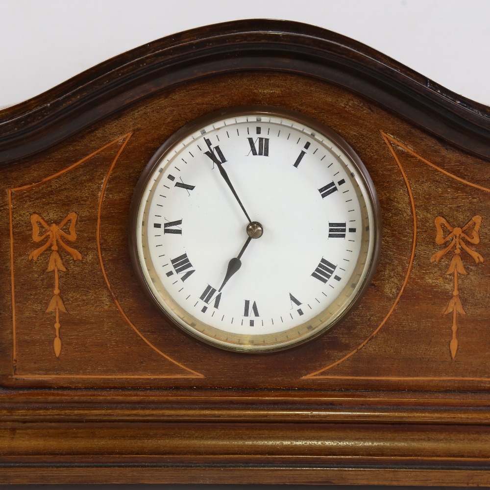 A French inlaid mahogany dome-top mantel clock, white enamel dial with Roman numeral hour markers, - Image 2 of 5
