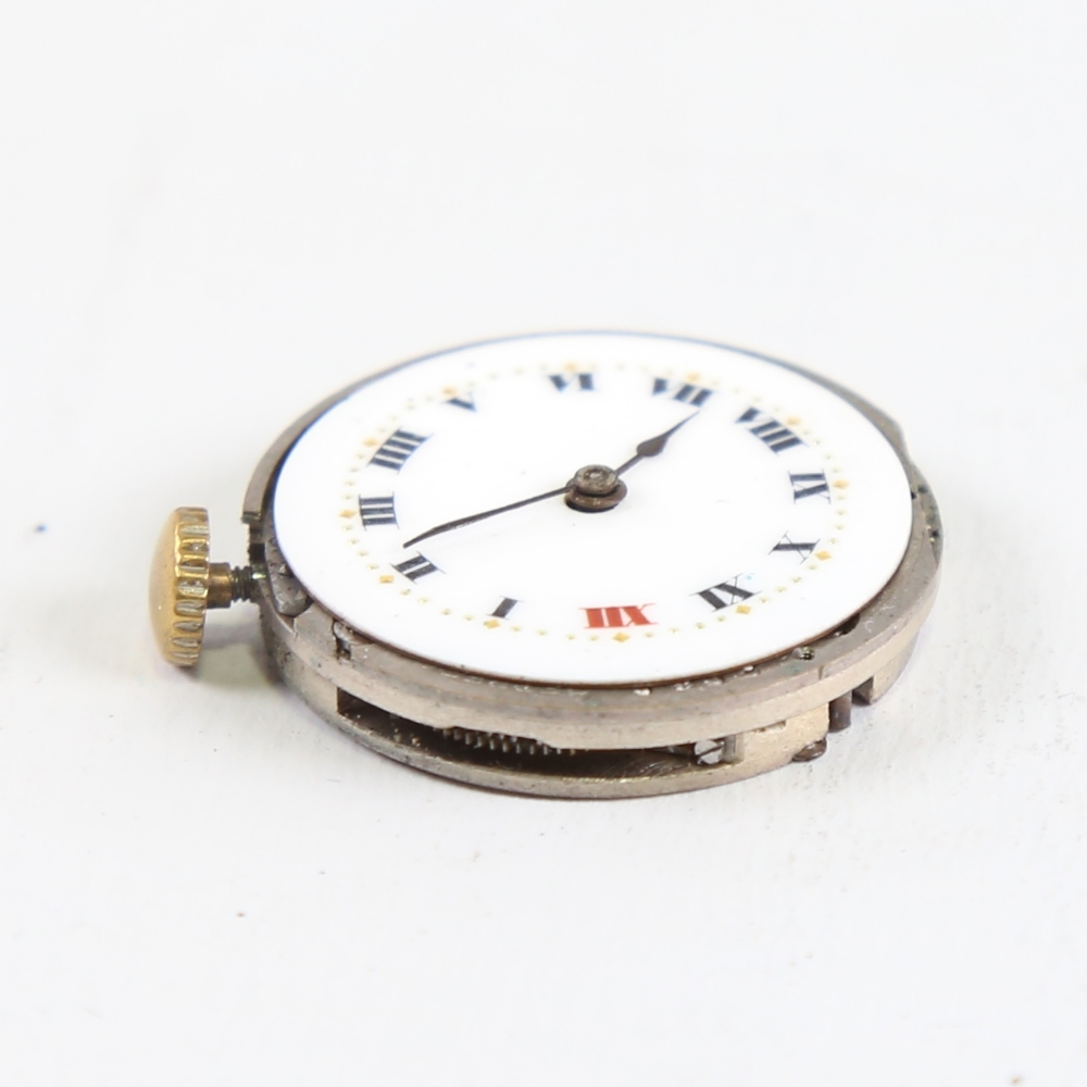 ROLEX - a Vintage wristwatch movement, white enamel dial with hand painted Roman numeral hour - Image 4 of 5
