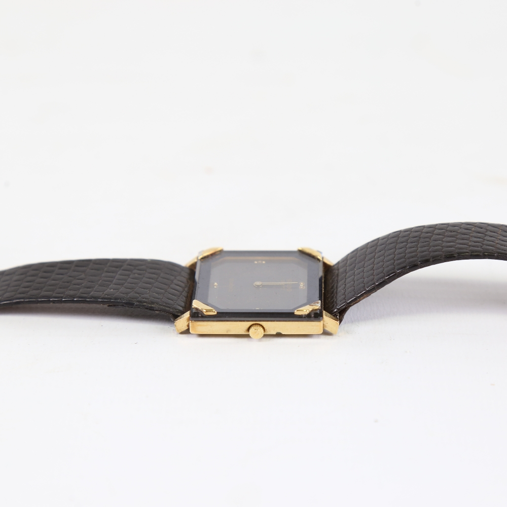 RADO - a gold plated stainless steel Florence quartz wristwatch, ref. 121.3365.2, square black - Image 4 of 5