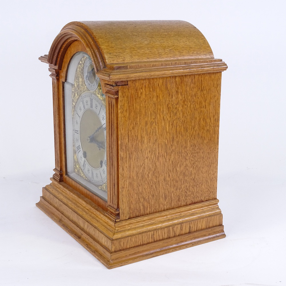 A late 19th/early 20th century German light oak-cased dome-top mantel clock, by Lenzkirch, - Image 2 of 3