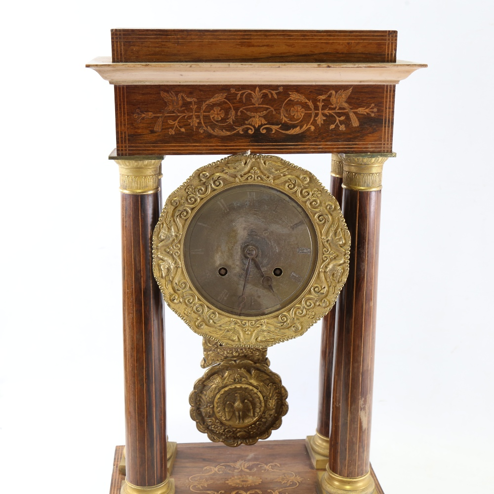 A 19th century rosewood and satinwood inlaid brass 4-pillar portico mantel clock, silvered dial with - Image 2 of 5