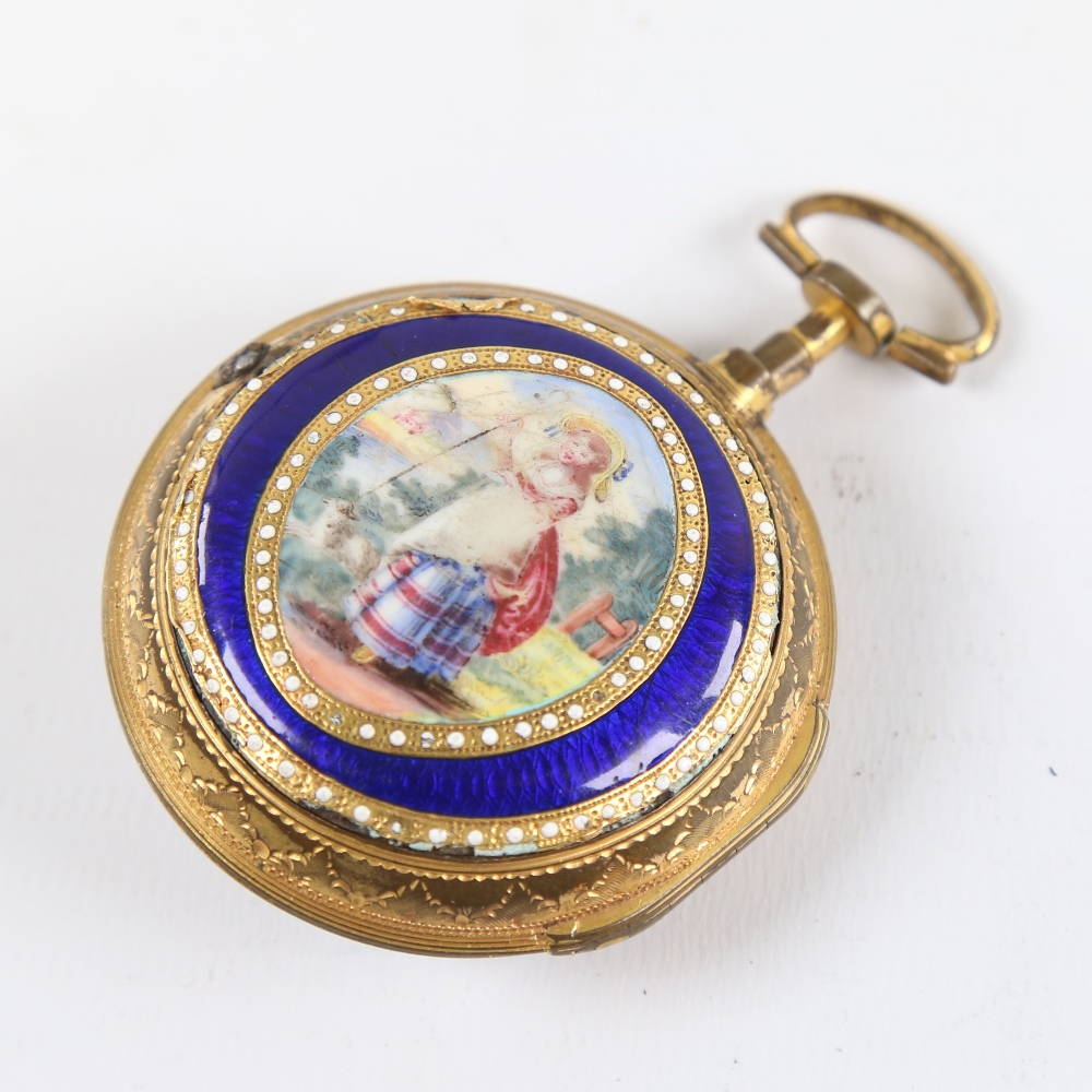 An 18th century gold plated pair-cased open-face keywind Verge pocket watch, by George Cartwright of - Image 2 of 5