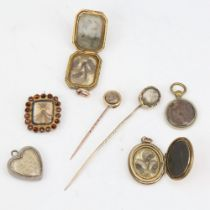 A group of Antique mourning jewellery, including photo pendant lockets, woven hair stickpins, brooch