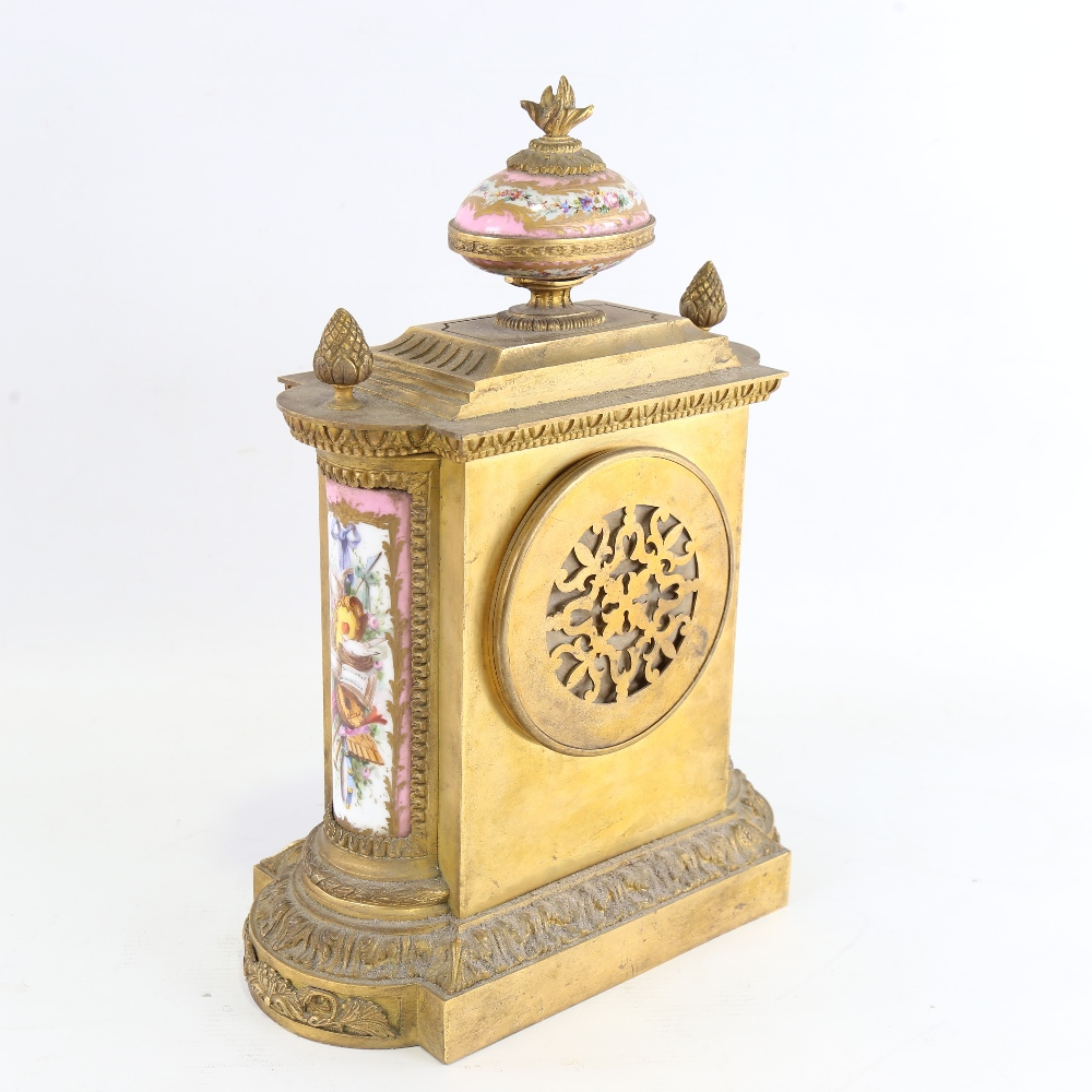 A French gilt-brass and Sevres Rose Pompador porcelain panel 8-day mantel clock, by Charles - Image 3 of 5