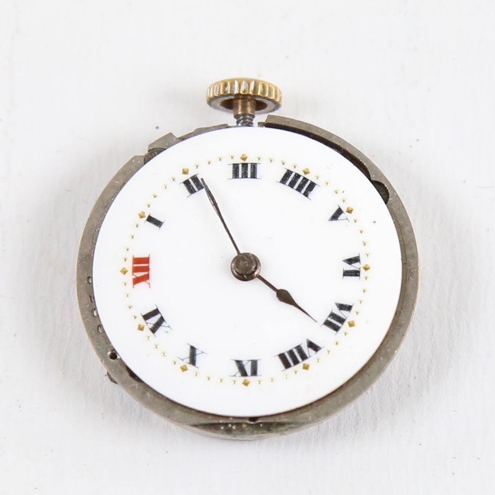 ROLEX - a Vintage wristwatch movement, white enamel dial with hand painted Roman numeral hour