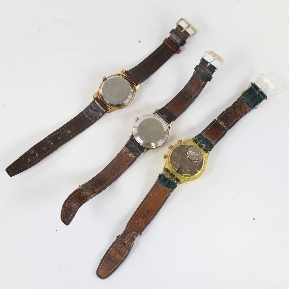 3 Vintage wristwatches, comprising Swatch, Ramona automatic, and Rotary automatic, both automatics - Image 3 of 5