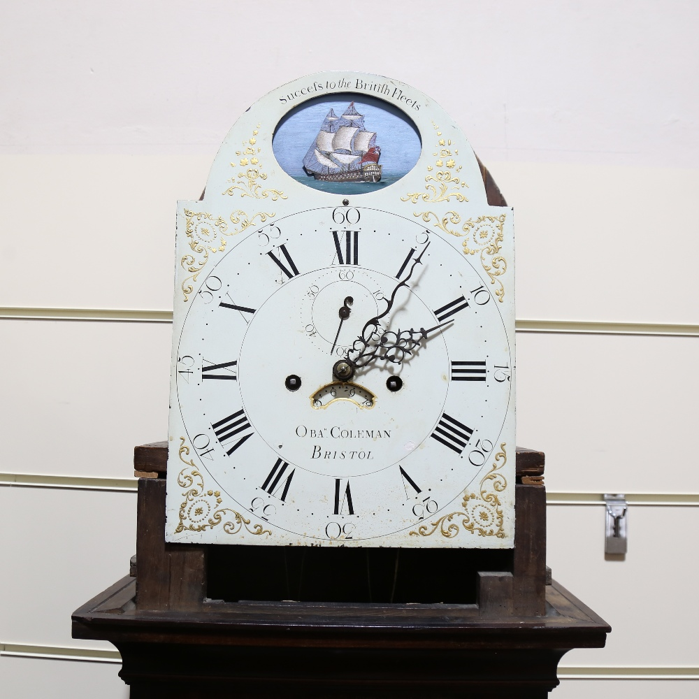 A George III walnut 8-day longcase clock, by Obadiah Coleman of Bristol, white painted dial with - Image 3 of 4