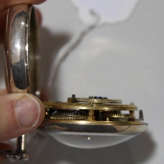 An 18th century silver pair-cased open-face keywind Verge pocket watch, white enamel dial with - Image 9 of 19