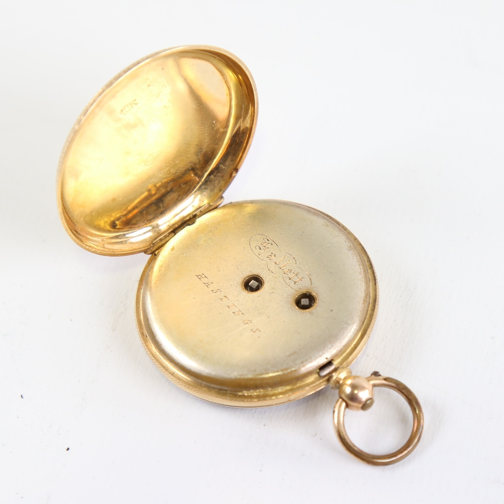 A Swiss 18ct gold open-face keywind pocket watch, by Hallett of Hastings, floral engraved and - Image 3 of 5