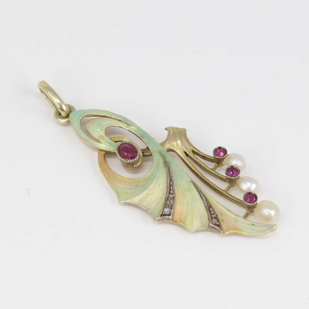 An Art Nouveau Continental 14ct gold ombre enamel ruby pearl and diamond floral pendant, openwork - Image 3 of 5