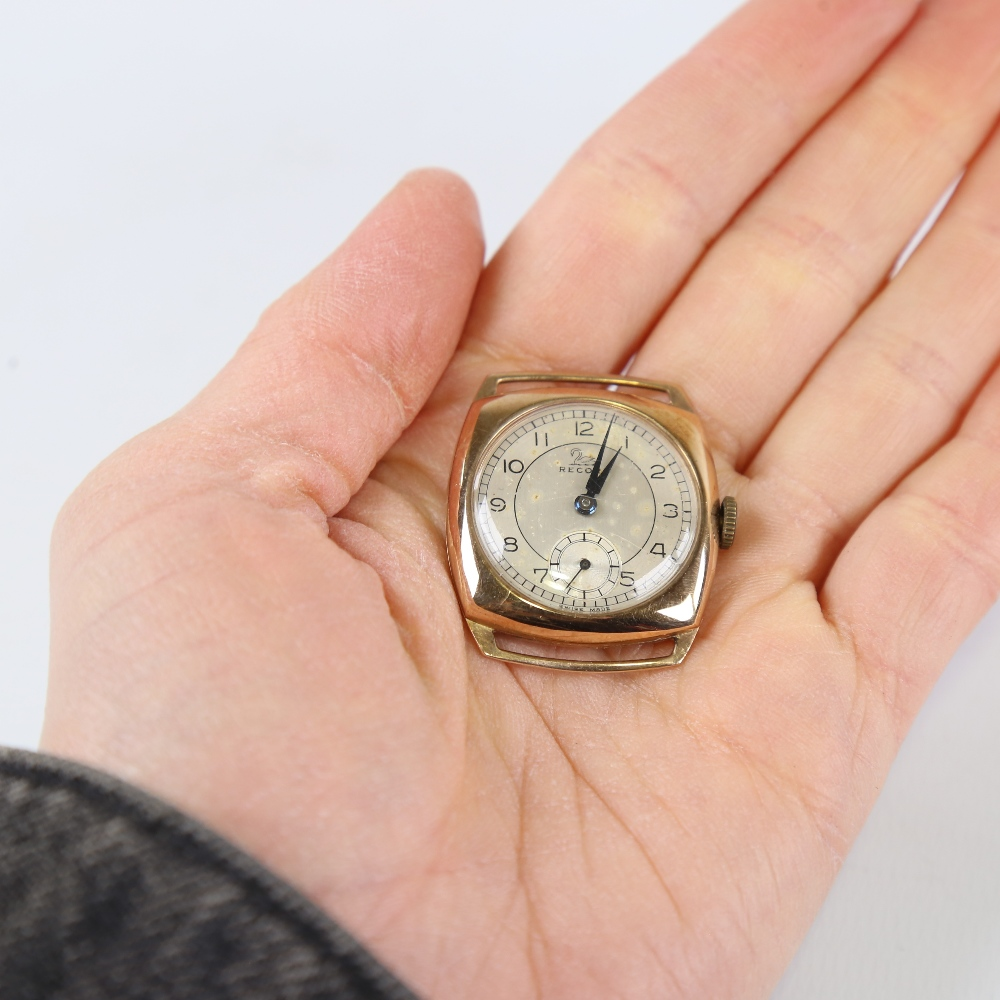 RECORD - a Vintage 9ct gold mechanical wristwatch head, silvered dial with Arabic numerals and - Image 5 of 5