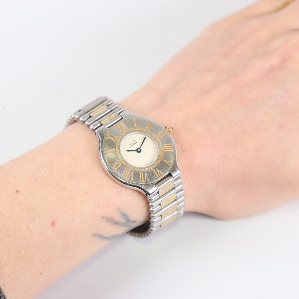 CARTIER - a lady's stainless steel Must De Cartier 21 quartz wristwatch, silvered dial with blued - Image 5 of 5