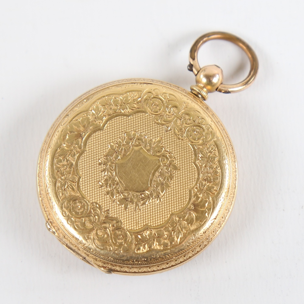 A Swiss 18ct gold open-face keywind pocket watch, by Hallett of Hastings, floral engraved and - Image 2 of 5