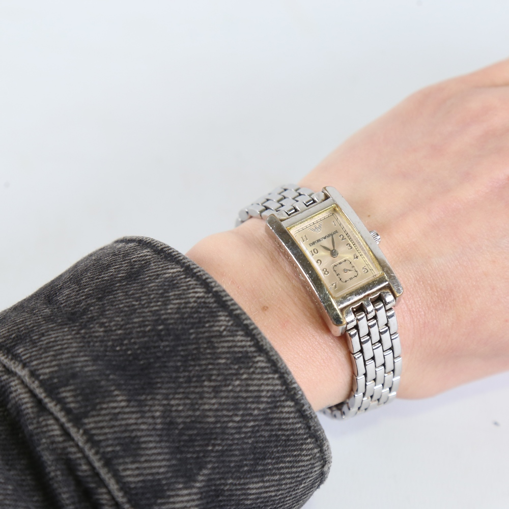 2 modern lady's stainless steel designer quartz wristwatches, comprising Gucci 1500L and Emporio - Image 5 of 5
