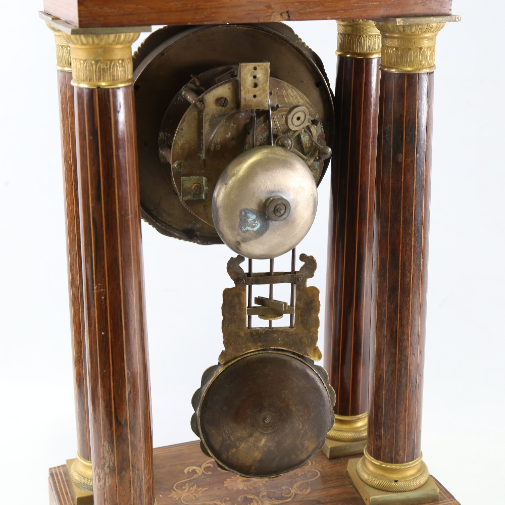 A 19th century rosewood and satinwood inlaid brass 4-pillar portico mantel clock, silvered dial with - Image 4 of 5