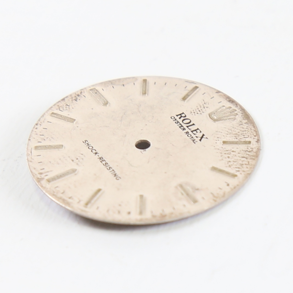 ROLEX - a Vintage Oyster Royal wristwatch dial, silvered face with baton hour markers, diameter 25. - Image 3 of 5