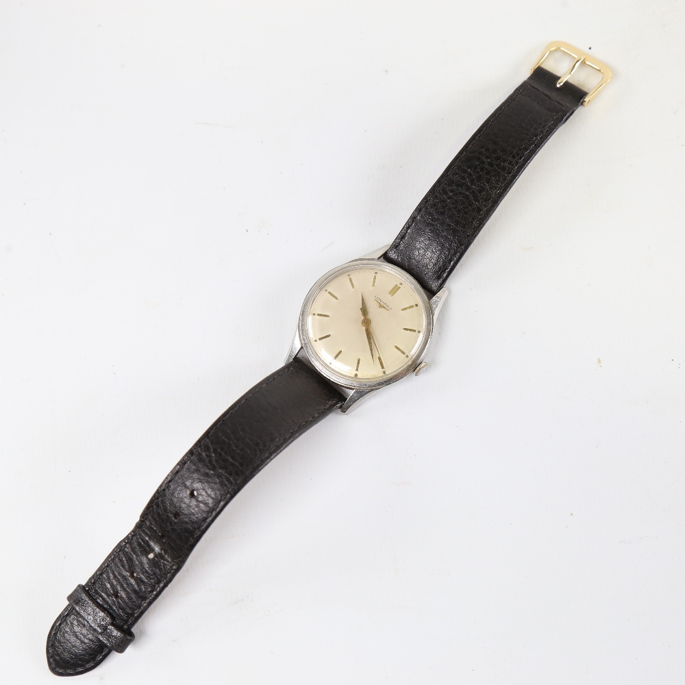LONGINES - a Vintage stainless steel mechanical wristwatch, ref. 6995-1, silvered dial with gilt - Image 2 of 5