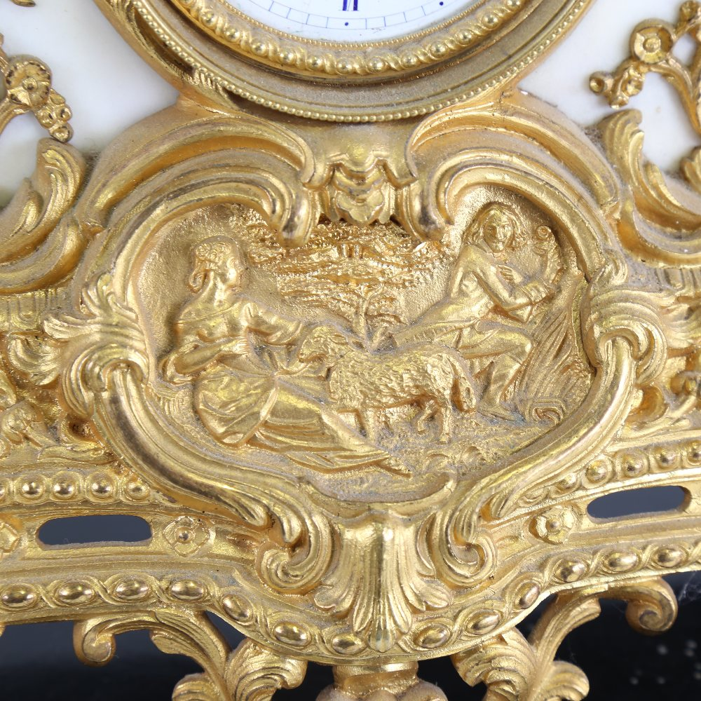 A large 19th century French gilt-bronze 8-day mantel clock, indistinct maker, white enamel dial with - Image 5 of 5