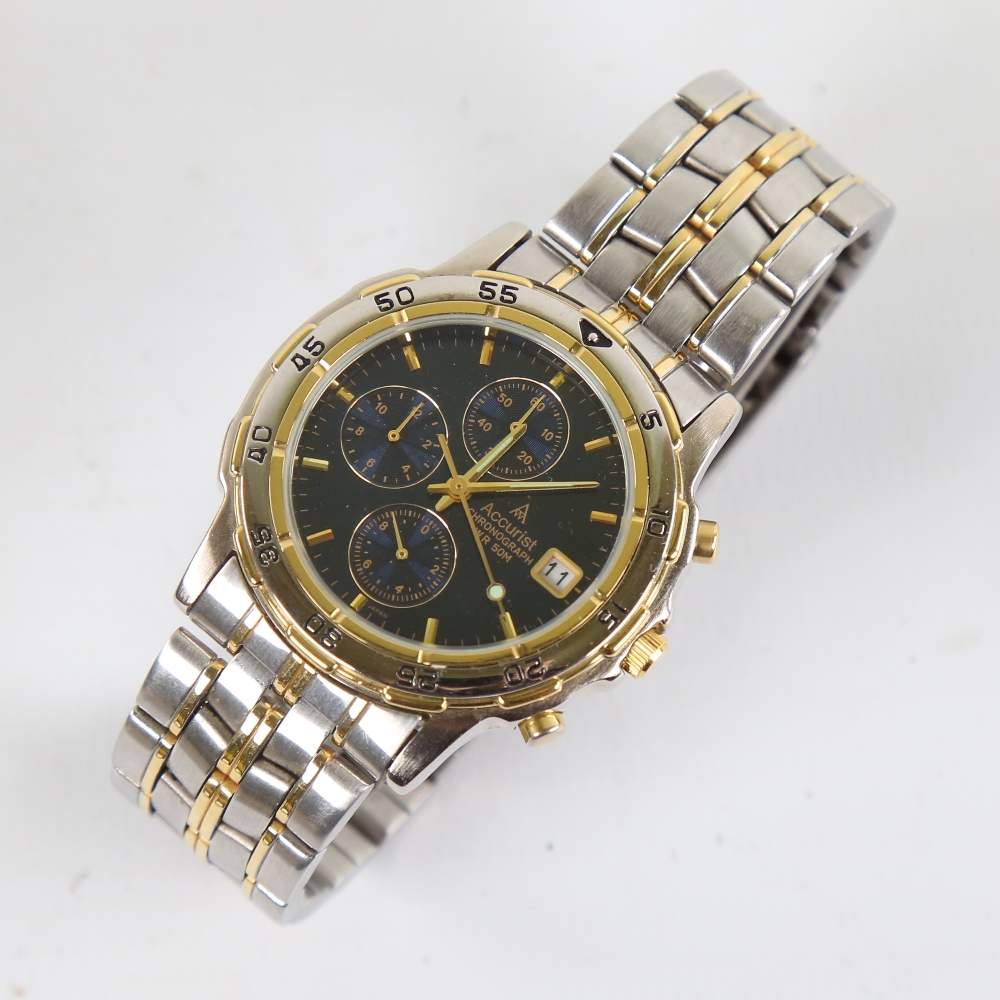ACCURIST - a gold plated and stainless steel WR50M quartz chronograph wristwatch, ref SR927W, blue - Image 2 of 5