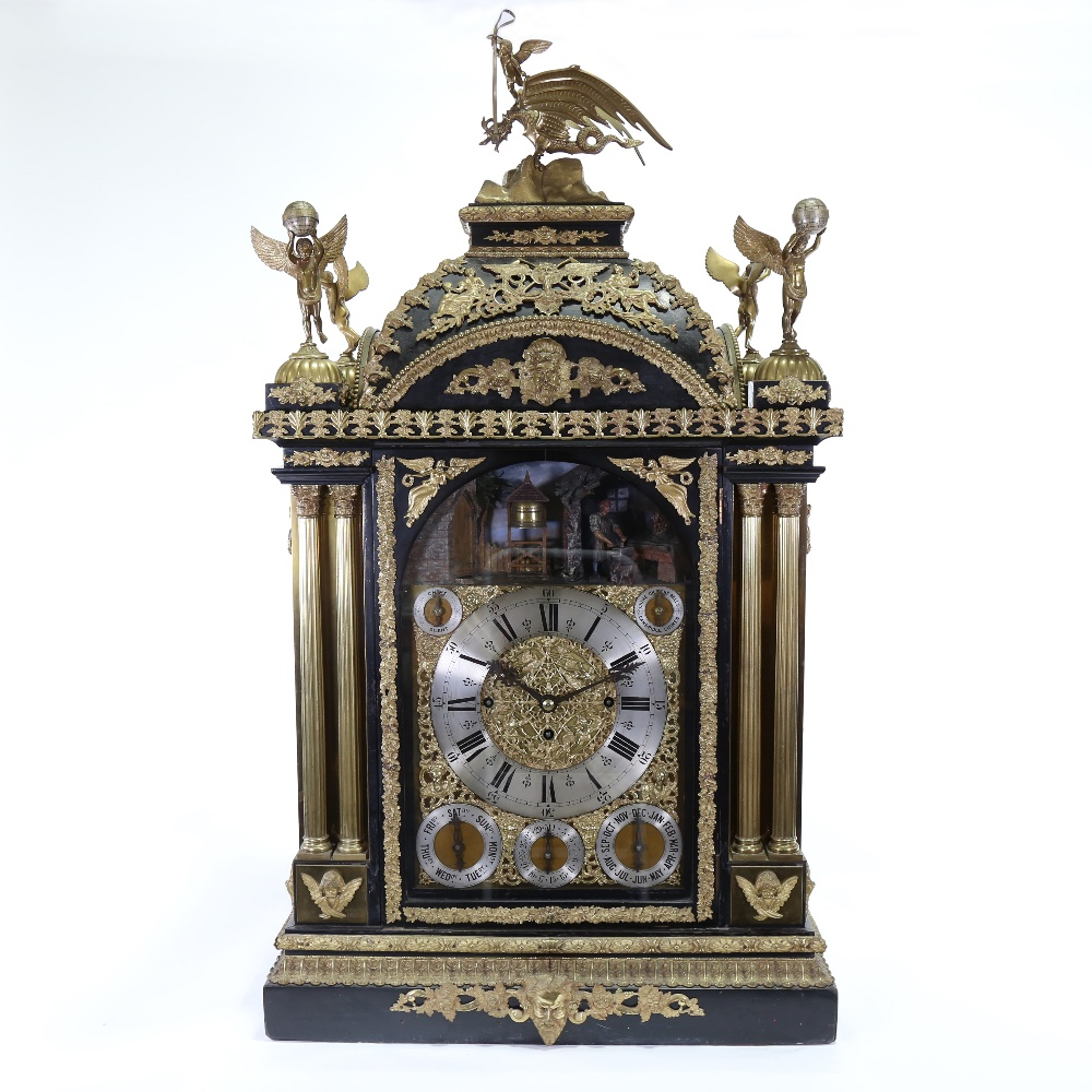 A spectacular 19th century quarter chiming English Exhibition table clock with automata, - Image 2 of 51