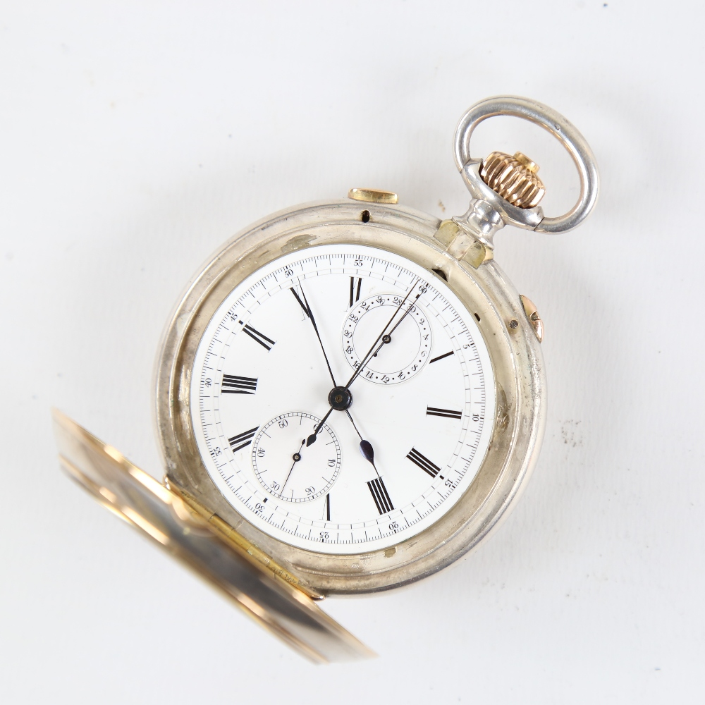A 19th century Swiss silver and yellow metal open-face top-wind Doctor's chronograph pocket watch, - Image 3 of 5