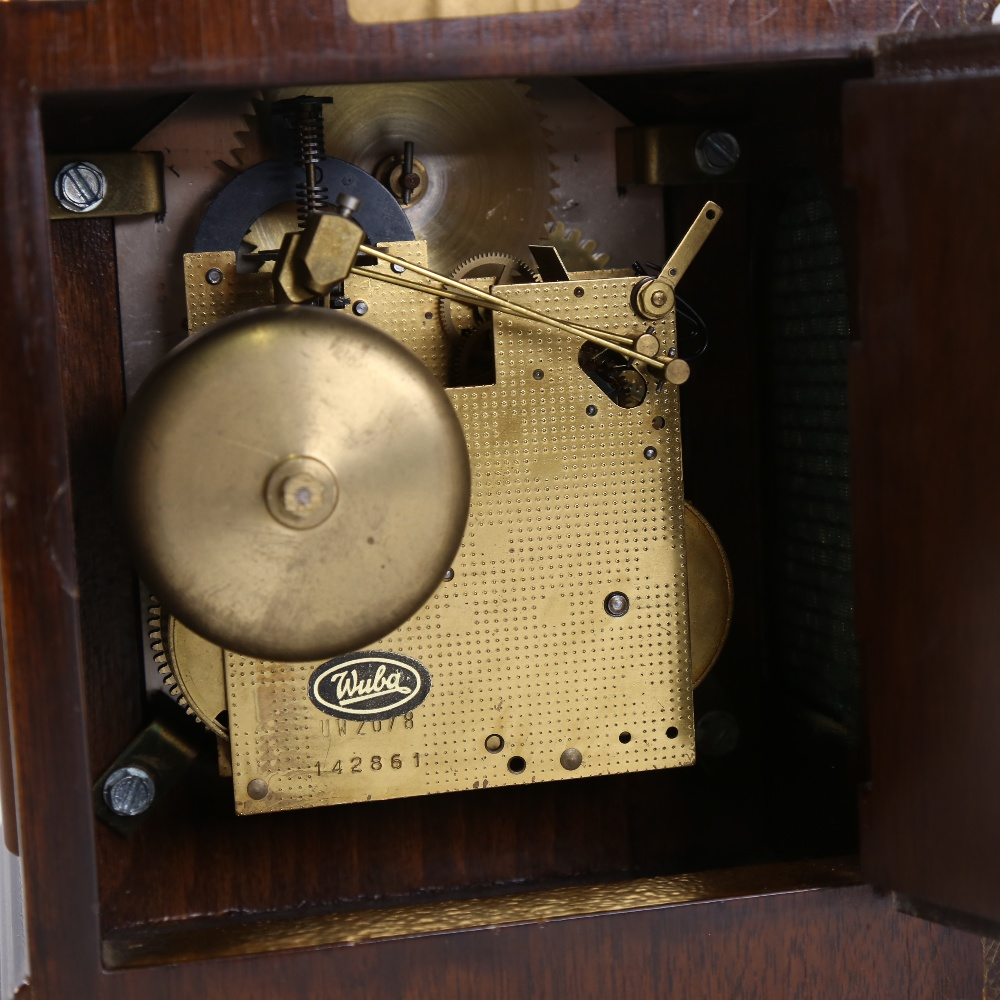 A Georgian style reproduction walnut-cased 8-day dome-top bracket clock, by Warmink Wuba, brass - Image 4 of 5